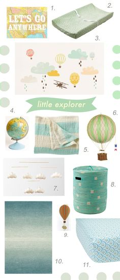 So excited to unveil my nursery inspiration boards for my first clients! They are new parents-to-be, and in the process of transforming their 2nd bedroom from an office to the baby's room. They expressed an interest in maps, animals, trees, robots, soothing colors like blues & greens, a sophisticated look, nothing too bright or that screams baby. Scroll down to see all 4 design concepts I came up with. Enjoy! 1. Let's Go Anywhere Print, Etsy, $18 2. Green Dotty Changing Pad Cover, Babies R…