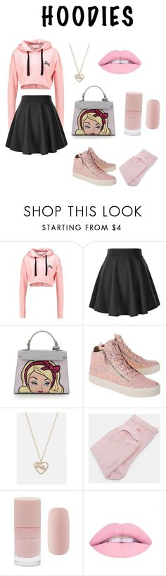 """""""Barbie"""" by tea-booth ❤ liked on Polyvore featuring Giuseppe Zanotti, Ted Baker, Forever 21 and Hoodies"""