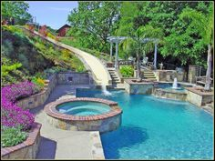 Pool Designs With Slides swimming pools | pool custom features beach entry slide bench