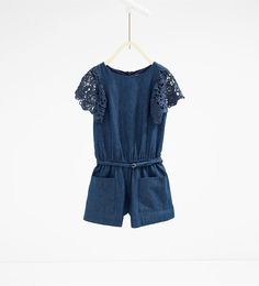 Image 1 of Guipure lace indigo jumpsuit from Zara