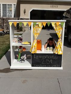 Makeover old entertainment center into lemonade stand with your kid!   To show your kids some responsibilities. :)