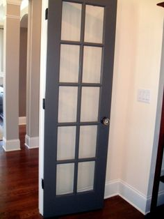 Interior Doors | grey double doors with full view windows | Bayer Built Woodworks