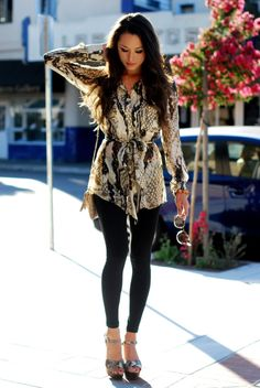 snake print wrap top with skinny jeans