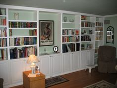 DIY Built in Bookcases. I need this! Looks so clean and professional.