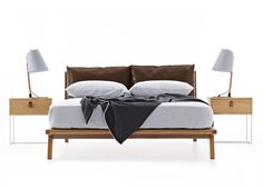 Markus are upholstered beds designed and made in Australia by Studio Pip. The design features 2 padded cushions that act as a bedhead. Upholstered Beds, Bed Head, Bed Design, Cushions, Furniture, Home Decor, Throw Pillows, Toss Pillows, Decoration Home