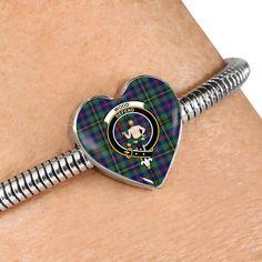 Johnstone Tartan Crest Heart Bracelet – Your Tartan Scottish Tartans, Working Mother, Everyday Items, Heart Bracelet, Bangles, Bracelets, Heart Charm, 18k Gold, Cufflinks