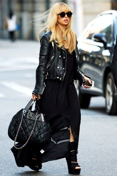 Street style - Rachel Zoe in Burberry Rhythm Collection leather jacket...swoon