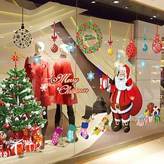 """[NewYearSale]Merry Christmas Santa Claus And Gifts Window Sticker (23.64""""W × 35.4""""L) – USD $ 12.49"""