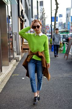 ICCHO STYLE BLOG -TOKYO STREET FASHION MAGAZINE -: Sahomi Nakanishi - Light green knit !! 산뜻하고 깔끔!