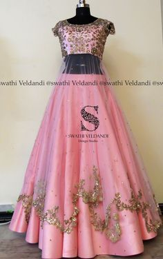 Stunning blush pink color lehenga and blouse with layered net. Netwith floral design hand embroidery gold thread and zardosi work. 26 March 2018