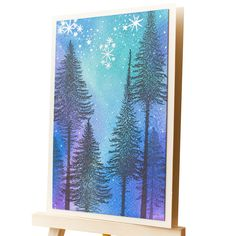 North light forest card, Aurora Borealis handmade forest card, Night sky woods card, Handmade card with trees and stars by AlluyaHandmadeArt on Etsy