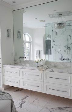 The Cross Decor & Design - bathrooms - marble bathroom, white marble bathroom, master bathroom, frameless bathroom mirror, faucets on mirror...