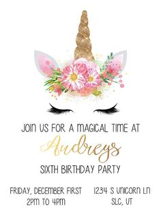 Unicorn Birthday invite