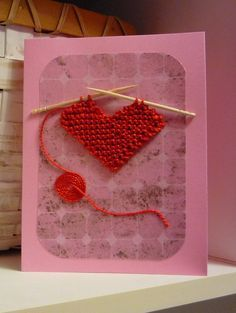 Free Knitting Pattern for Loving Thoughts Heart Card - Show you care with a personalized card with a knitted heart by Kelly Jo Sweeney. Pictured project by fluffernutters