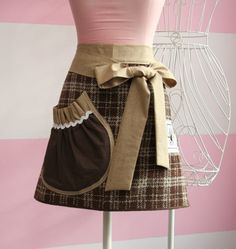Plaid Apron with Linen waistband and ties - Etsy.