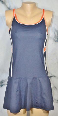 30f1b51a47 TAIL TECH PERFORMANCE Navy Blue Orange White Tennis Dress Small Shelf Bra   TailTech  AthleticDresses