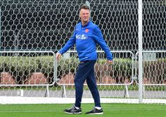 Netherlands' coach Louis van Gaal walks on the training pitch at The Estádio Paulo Machado de Carvalho (Pacaembu) in Sao Paulo on July 10, 2014, ahead of their third place play-off against host nation Brazil in the 2014 FIFA World Cup.