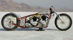 "Malinky ""Double Vision"" 1955 dual engined triumph drag bike."