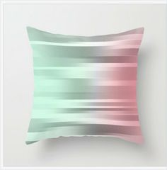 Mint Green - Gray - Pink - Throw Pillow Cover Includes Pillow Insert - Mint Green - Gray and Coral Pink - Made to Order USD) by ShelleysCrochetOle Teal Cushions, Pink Throw Pillows, Throw Cushions, Sofa Pillows, Couch, Grey And Coral, Coral Pink, Green And Grey, Gray