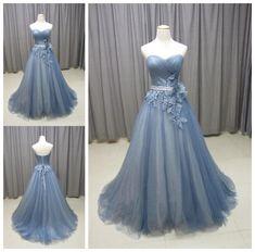 Gray Blue Sweetheart Neck Tulle Long Prom Dress, Gray Evening Dress