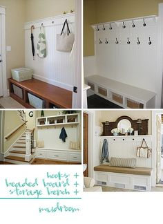 2 Girls, 1 Year, 730 Moments to Share: Entryway Bench Idea Inspiration! Home Design Decor, Diy Home Decor, House Design, Interior Design, Home Hacks, Home Organization, Organizing, Mudroom, Home Projects