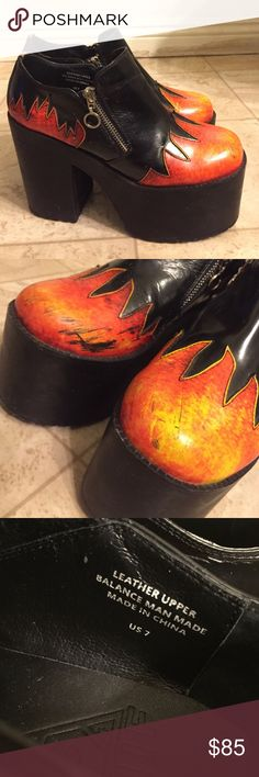 Unif Pyro platform Selling my gorgeous and sold out Unif Pyro boots in size 7, these babies are in great shape with no damage other than a few scuffs (pictured) on the front toe flame designs, other than that they are in perfect condition and are super comfortable. 🔥🔥🔥 UNIF Shoes Platforms