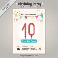 Birthday party invitation with garland Free Vector
