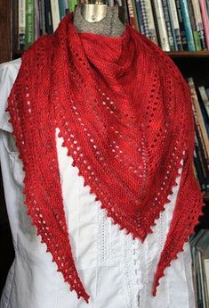 Free knitting pattern for easy Shawl - Amy Meade's easy garter stitch triangle shawl is dressed up with eyelet rows and a picot bind-off. (There's also an option for a crochet cast-off instead.) by Carmen Smith Crochet Shawls And Wraps, Knitted Shawls, Crochet Scarves, Crochet Clothes, Shawl Patterns, Knitting Patterns, Crochet Patterns, Knit Or Crochet, Lace Knitting