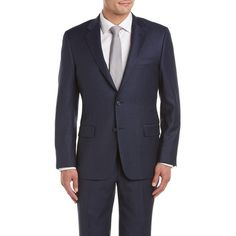 Hickey Freeman Hickey Freeman Milburn Ii Wool Suit With Flat Front... (£470) ❤ liked on Polyvore featuring men's fashion, men's clothing, men's suits, blue, mens wool suits, mens tailored suits and mens blue suit