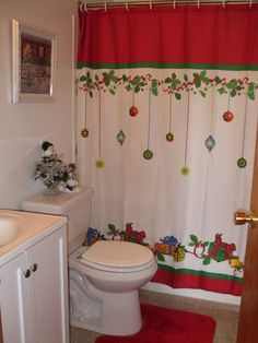Check Out 20 Amazing Christmas Bathroom Decoration Ideas. Christmas bathroom seats which are incredible and really creative for winter season and Christmas. Primitive Bathroom Decor, Bathroom Decor Sets, Bathroom Shower Curtains, Small Bathroom, Bathroom Ideas, Bathroom Vanities, Bathrooms, Bathroom Cabinets, Bathroom Designs