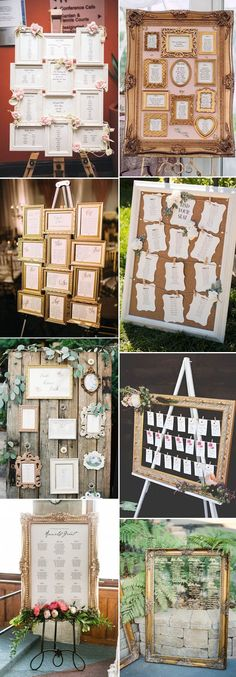 vintage photo frame wedding seating charts ideas