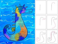 Mr. Seahorse drawing.  Eric Carle-esque, with watercolor, crayon, and markers.