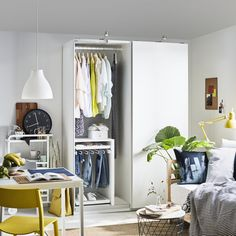 "Complete your home with PAX Wardrobe, white, Hasvik white, "". This wardrobe combination is just as good looking on the outside as it is clever on the inside. Pax Wardrobe, Sliding Wardrobe Doors, Sliding Doors, Pax Planer, Ikea Canada, Pax System, Ikea Usa, Petites Tables, Structure Metal"