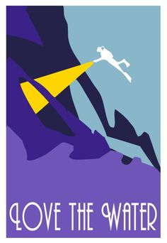 Ice cavern scuba diver in Purples and Blues,  retro art, giclee print of original vector illustration on Etsy, $25.00