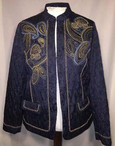 NWT Alfred Dunner 12 Petite Blazer Jacket Prince Street Navy Embroidered  $76 #AlfredDunner #Blazer