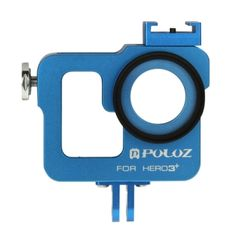 PULUZ Housing Shell CNC Aluminum Alloy Protective Cage with 37mm UV Lens Filter & Lens Cap for GoPro HERO3+ /3(Blue)