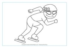 Speed Skating Colouring Page. Winter Olympic printables.