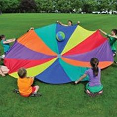 6 Meter Parachute with 16 Handles - This colourful, unique, and simple activity is great for groups and getting outside. Visually and physically engaging!