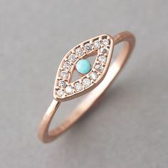 Turquoise Evil Eye Ring Rose Gold from kellinsilver.com