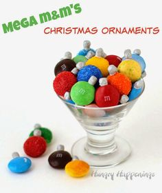 Mega M&M's Christmas Ornaments are a super easy holiday craft for kids or adults HungryHappenings.com