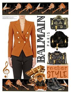"""""""Rocker Chic"""" by yours-styling-best-friend ❤ liked on Polyvore featuring Moschino, York Wallcoverings, Balmain, MCM, black, edgy, balmain, rockerchic and rockerstyle"""