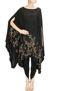 PRATHYUSHA GARIMELLA Black leaf embellished cape with dhoti pants available only at Pernia's Pop Up Shop.