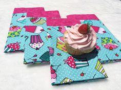 Cupcake Cloth Napkins, Double-Sided Napkins, Cupcake Reversible Napkins, Aquamarine/Pink Summer Table Linens, Cupcake Gift, LasmasCreations. by LasmasCreations on Etsy
