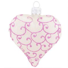 Heart Frosted Glass w/ Pink Glitter $7.99