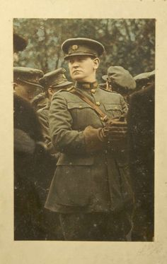 Michael Collins, in General's uniform Ireland 1916, Belfast City, Erin Go Bragh, Michael Collins, Irish Celtic, Emerald Isle, Hand Coloring, Dublin, Scotland