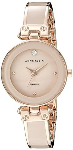 Anne Klein Womens AK1980BMRG DiamondAccented Dial Blush Pink and Rose GoldTone Bangle Watch >>> For more information, visit image link.Note:It is affiliate link to Amazon.