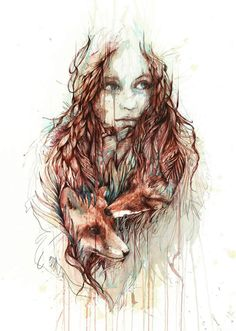 Girl with Fox painting by Carne Griffiths  Tea and alcohol