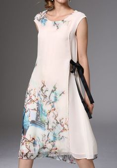 Multicolor Floral Pattern Round Neck Elegant Silk Midi Dress