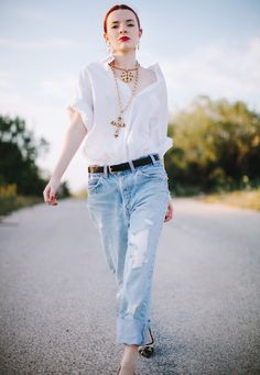 vintage cross neclace with casual 2017 outfit