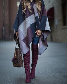 Today's #ootd layered up in this poncho (under $40) and OTK burgundy boots.  @liketoknow.it www.liketk.it/1ZY5R #liketkit #ltkunder50